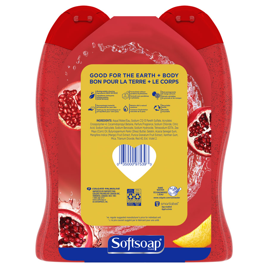 Softsoap Juicy Pomegranate & Mango 20oz twinpack back view