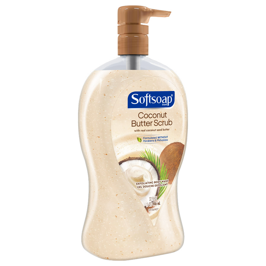 Softsoap Coconut Butter Scrub 32oz side view